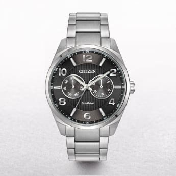 Gents Citizen Eco-Drive Stainless Steel Grey Date & Day Dial