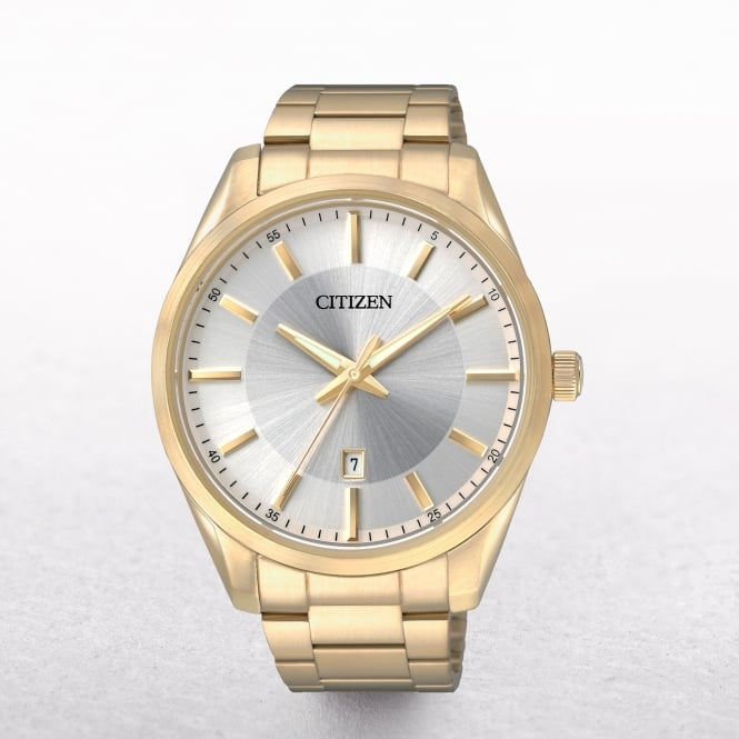 Gents Citizen Gold Plated Dress Watch With Date Window