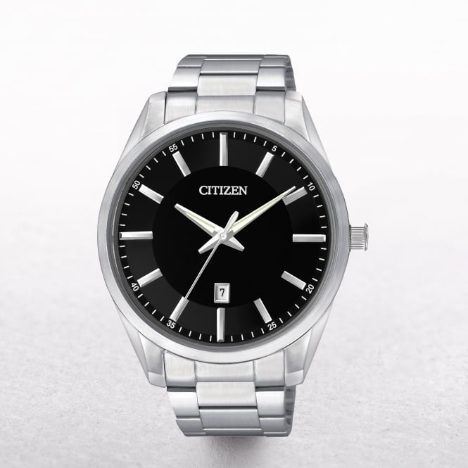 Gents Citizen Round Black Dial with Date Window
