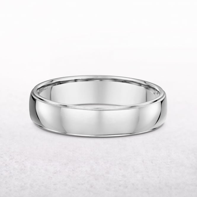 Gents Classic 5mm White Gold Wedding Band