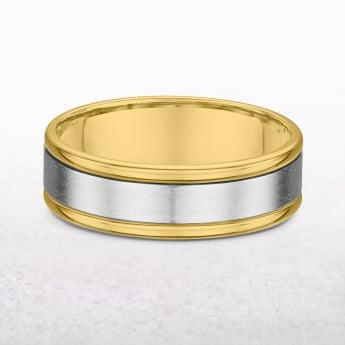 Gents Fancy Yellow & White Gold Wedding Band