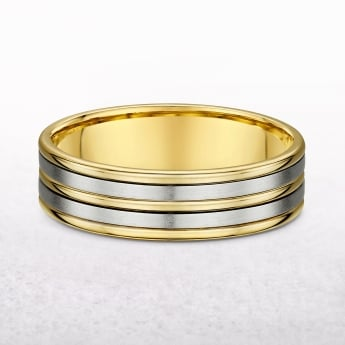 Gents Five Row Yellow & White Gold Wedding Band