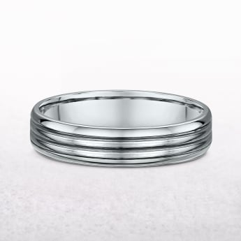 Gents Four Row Platinum Wedding Band