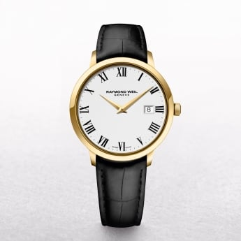 Gents Gold Plated Raymond Weil Toccata with Black Strap, Date, Roman Numerals