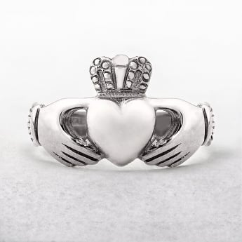 Gents Irish Made Claddagh Ring in White Gold