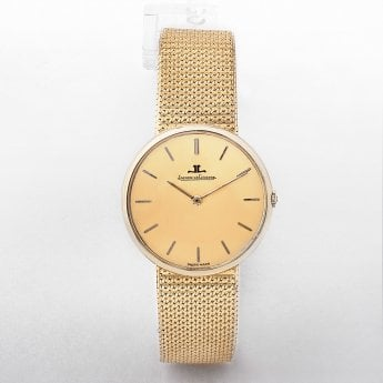 Gents Jaeger Le Coultre Manual Wind Gold Mesh Strap