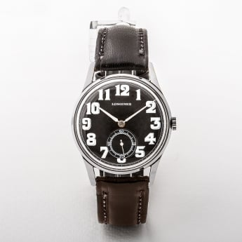 Gents Longines Manual Wind Black Dial Black Strap