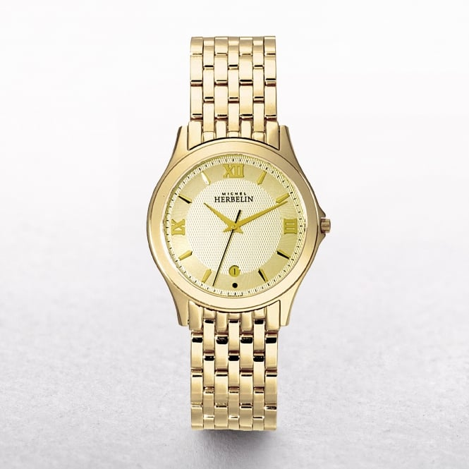 Gents Michel Herbelin Gold Plated Champagne Dial