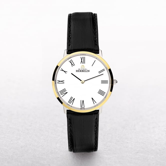 Gents Michel Herbelin Ikone Yellow Gold Plated & Stainless Steel