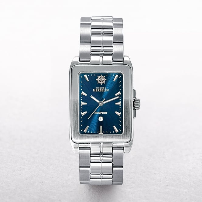 Gents Michel Herbelin Newport Rectangular Navy Dial