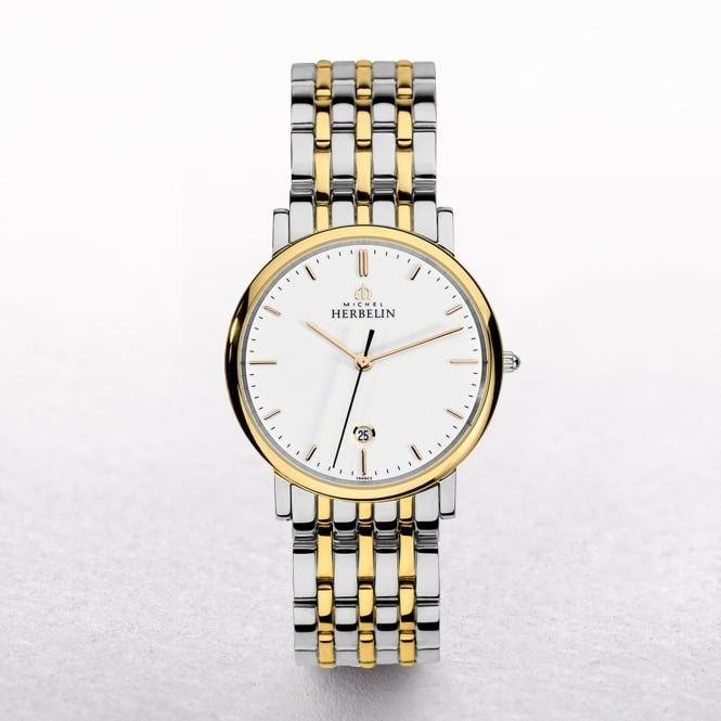 Gents Michel Herbelin Parisian Yellow Gold Plated & Stainless Steel