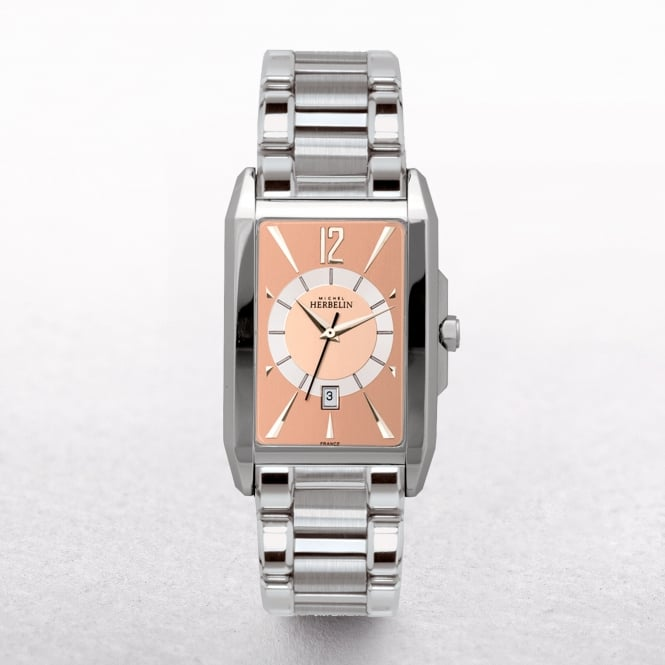 Gents Michel Herbelin Stainless Steel Rectangular Brown Dial