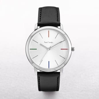 Gents Paul Smith Ma Watch with Four Coloured Batons on a Leather Strap