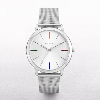 Gents Paul Smith Ma Watch with Four Coloured Batons on a Mesh Strap
