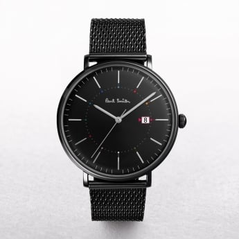 Gents Paul Smith Track Watch with a Black Dial on a Mesh Strap
