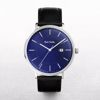 Gents Paul Smith Track Watch with a Navy Dial on a Leather Strap
