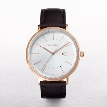 Gents Paul Smith Track Watch with a Silver Dial on a Leather Strap
