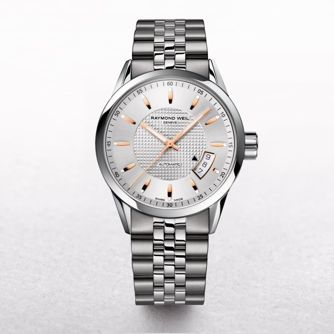 Gents Raymond Weil Automatic Freelancer Stainless Steel with Silver and Rose Gold Dial