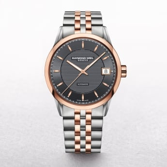 Gents Raymond Weil Freelancer with Grey Dial on Steel and Rose Gold Plate Bracelet