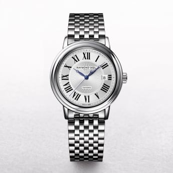 Gents Raymond Weil Maestro Automatic Stainless Steel Watch with a Round Silver Rim