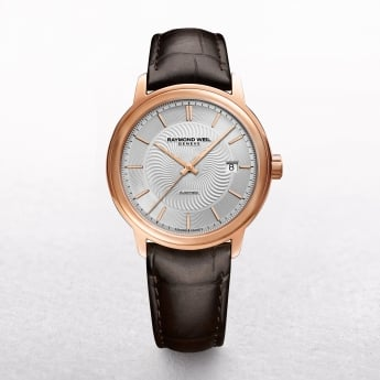 Gents Raymond Weil Maestro Rose Gold Plate On Brown Leather Strap