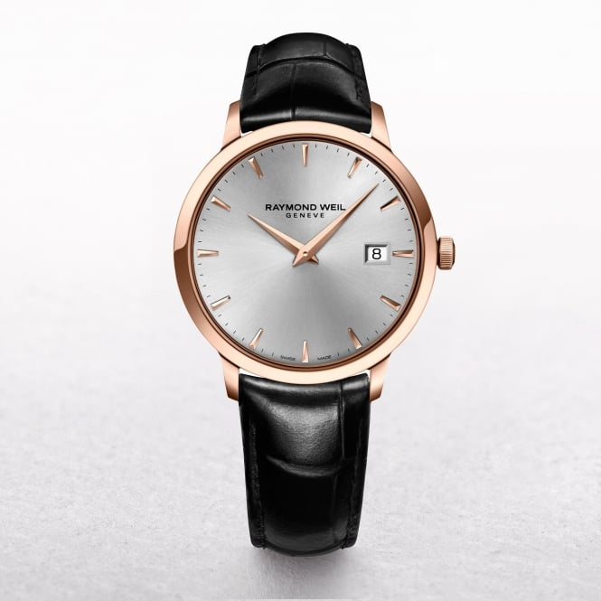 Gents Raymond Weil Maestro Rose Gold Plated Round DIal on a Baton Strap