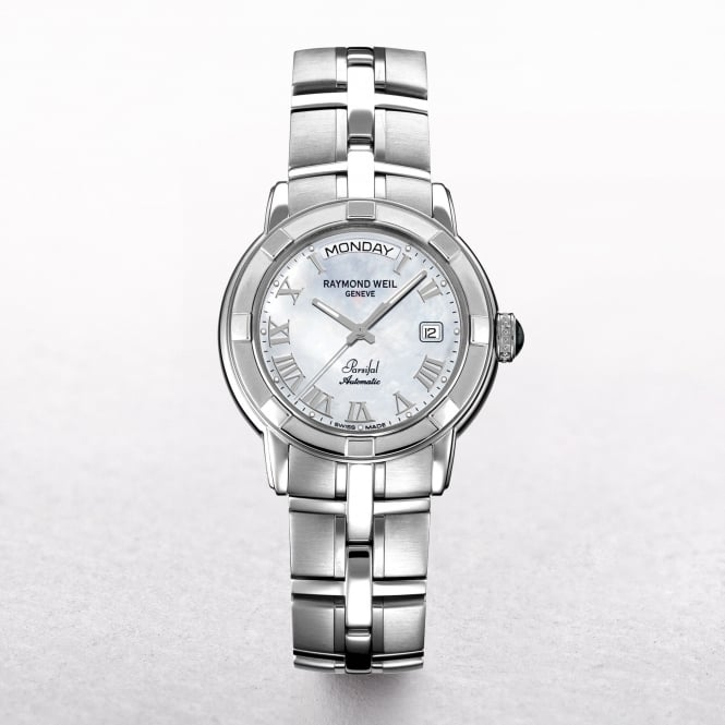 Gents Raymond Weil Parsifal Stainless Steel Automatic Round White Dial with Date/Day