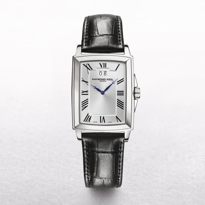 Gents Raymond Weil Rectangle Silver Dial with Roman Numeraks on a Black Strap