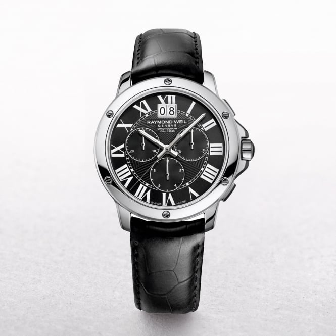 Gents Raymond Weil Tango Black Dial Chronograph Black Leather Strap