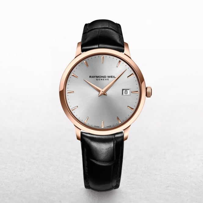Gents Raymond Weil Toccata Brown Strap, Rose Gold Bezel