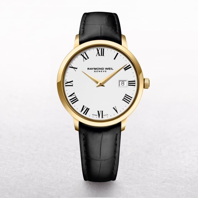 Gents Raymond Weil Toccata Gold Plated & Roman Numerals with Leather Strap