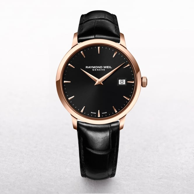 Gents Raymond Weil Toccata Rose Gold Plated with a Black Dial on a Leather Strap