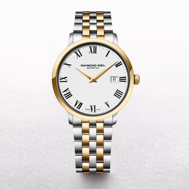 Gents Raymond Weil Toccata Two Tone Bracelet with Round White Dial