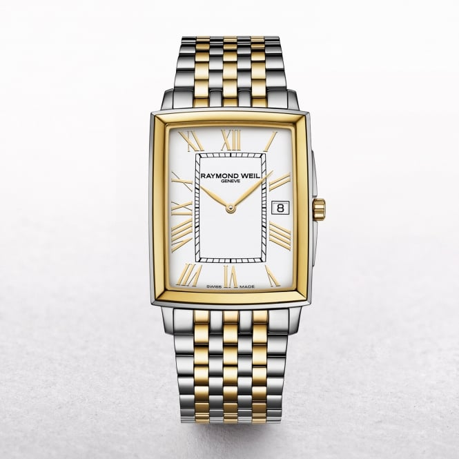 Gents Raymond Weil Two Toned Yellow Gold & Stainless Rectangle Dial on a Bracelet