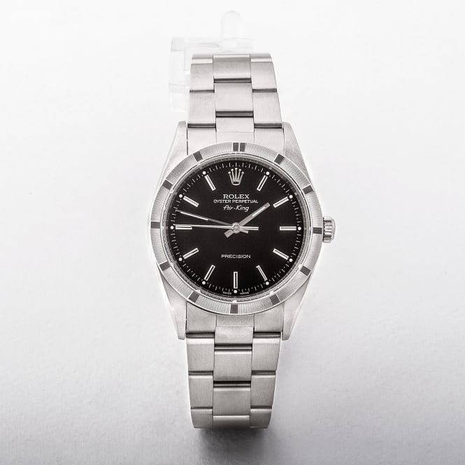 Gents Rolex Air King On Stainless Steel Oyster Bracelet With Black Baton Dial