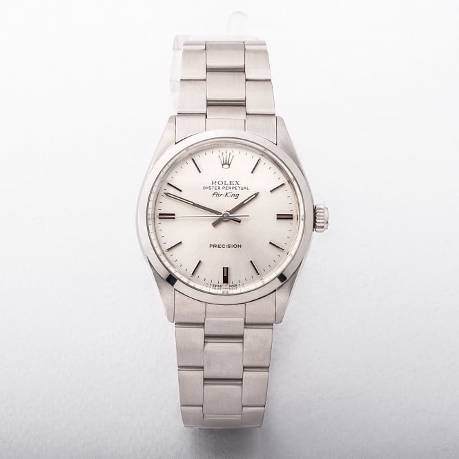 Gents Rolex Air King With Silver Baton Dial On A Stainless Steel Oyster Bracele
