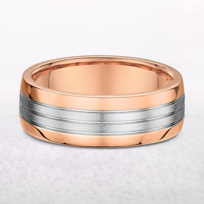 Gents Rose & White Gold 7mm Wedding Band