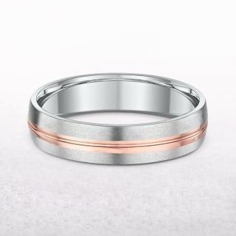 Gents Rose & White Gold Fancy Wedding Band