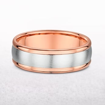 Gents Rose & White Gold Wedding Band