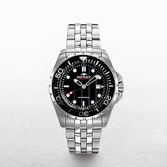 Gents Rotary Aquaspeed Stainless Steel Black Dial