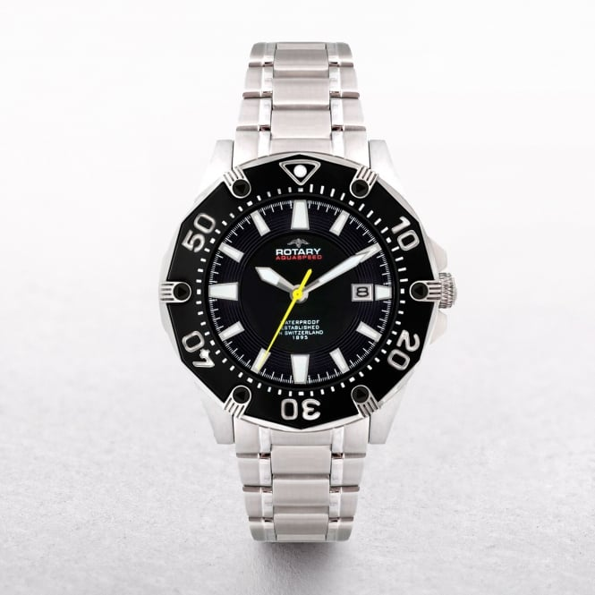 Gents Rotary Aquaspeed Stainless Steel Round Black Dial