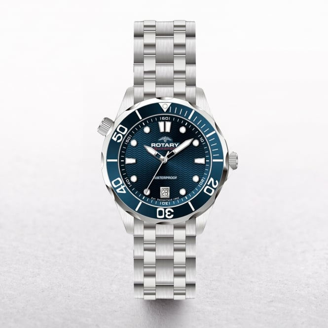 Gents Rotary Aquaspeed Stainless Steel Round Navy Dial