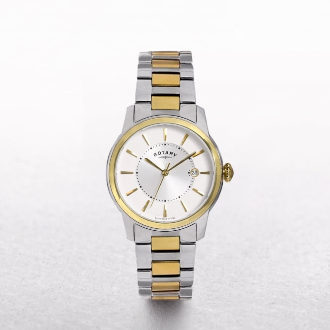 Gents Rotary Locarno Two Tone Gold Plated & Stainless Steel Round Dial