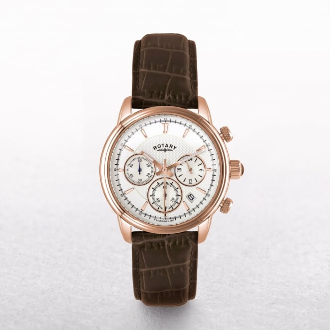 Gents Rotary Monaco Rose Gold Plated with Chronograph on a Leather Strap