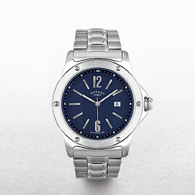 Gents Rotary Stainless Steel Round Navy Dial