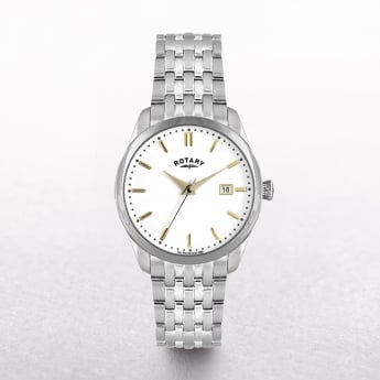 Gents Rotary Stainless Steel Round White Dial