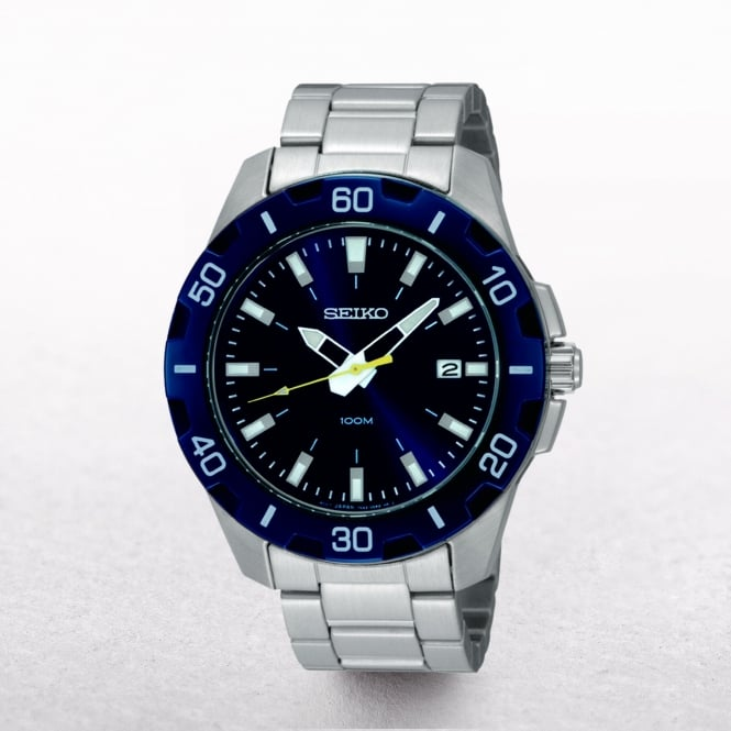 Gents Seiko Blue Dial & Bezel Sports Watch