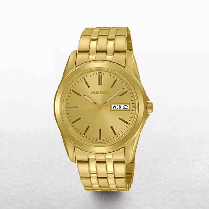 Gents Seiko Gold Plated Day & Date Window