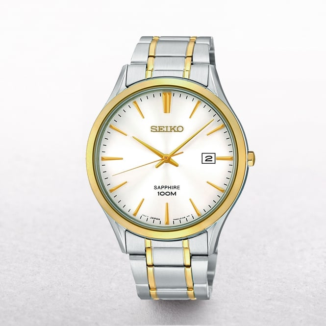 Gents Seiko Gold Plated & Stainless Steel White Dial