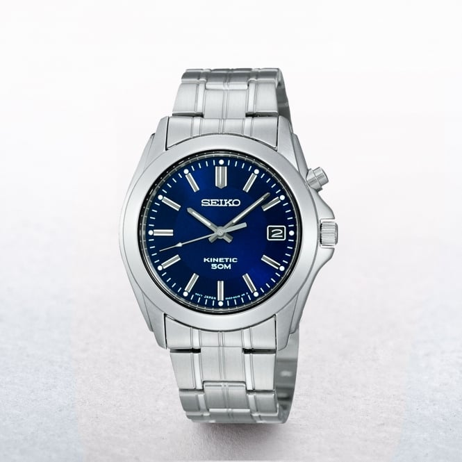 Gents Seiko Kinetic Chic Blue Stainless Steel Dial